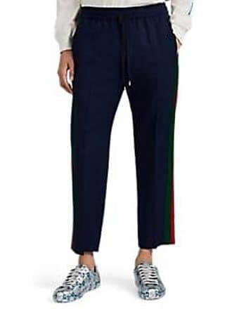 37a742529 Gucci Mens Contrast-Striped Wool-Mohair Crop Track Pants - Blue Size 52 EU