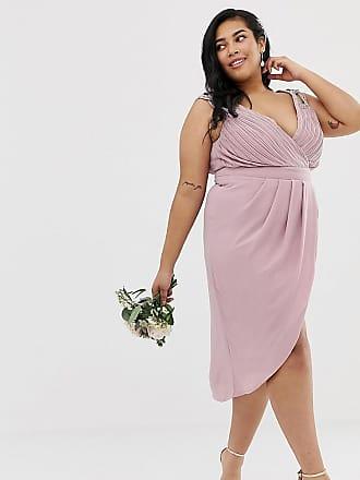 207d52911720 Tfnc Plus Esclusiva TFNC Plus - Vestito da damigella midi a portafoglio  rosa - Rosa