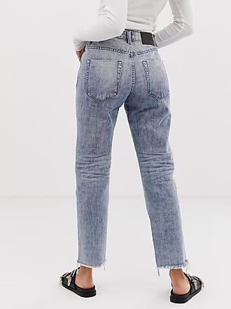 0b5a234690 One Teaspoon Truckers straight cut frayed hem jeans - Blue