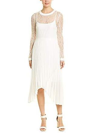 Bcbgmaxazria BCBGMax Azria Womens Asymmetrical Pleated Lace Dress, Optic White, 2