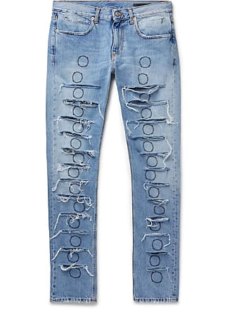 5b3ce5b718 Alyx Skinny-fit Distressed Embroidered Denim Jeans - Blue