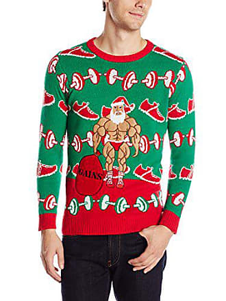 Blizzard Bay Mens Xmas-Fitness Ugly Christmas Sweater, Green/Red/Beige, XX-Large