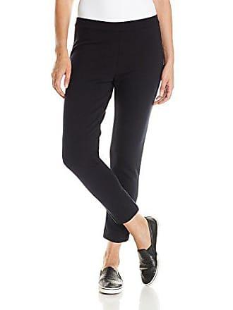 Joan Vass Womens Slim Ponte Pant, Black, 3