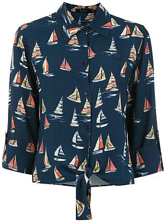 Fillity Camisa estampada com amarração - Azul