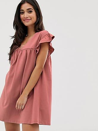 e64ab5da8b1 Asos Petite ASOS DESIGN Petite - Robe babydoll duveteuse courte en coton  réversible - Rose
