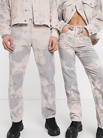 Collusion x005 - Gerade geschnittene Cord-Jeans in verblichenem Grau-Grün