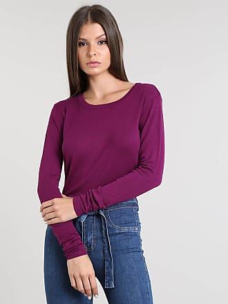 Basics Suéter Feminino Básico em Tricô Decote Redondo Roxo