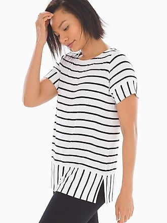 Soma Soft Jersey Short Sleeve Boatneck Top Quiet Stripe Bright White, Size XL