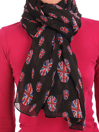 Liss Kiss Black With British Flag Skull Unisex Scarf & Beach Sarong - Black Designer Scarf