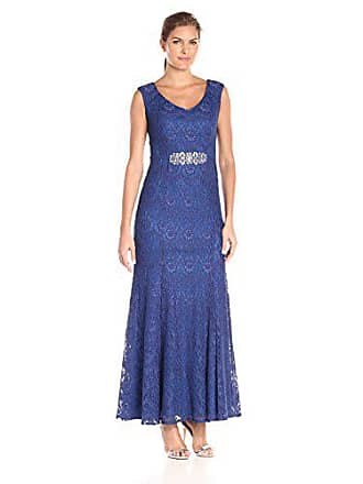 Alex Evenings Womens Long Cap Sleeve V-Neck Dress with Embellished Waist Detail, Cobalt, 8