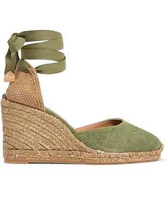 Castaner Carina 80 Canvas Wedge Espadrilles - Army green