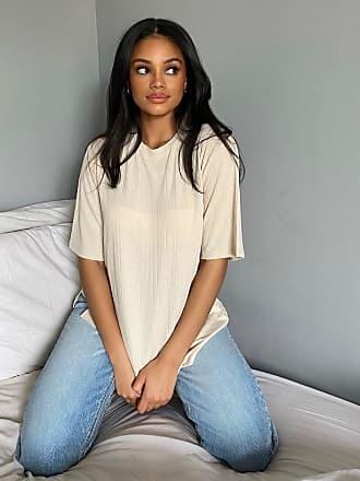 Monki Gill - T-shirt oversize in jersey a coste beige