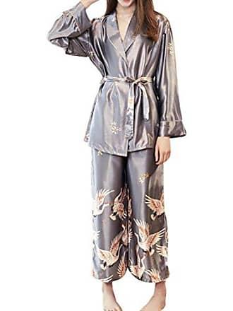 8de53c116ca6f6 Zhhlaixing Frauen Luxuriöse Langarm Satin Pyjama einstellen Druckmuster  Nachtwäsche Seide overall Loungewear für Damen