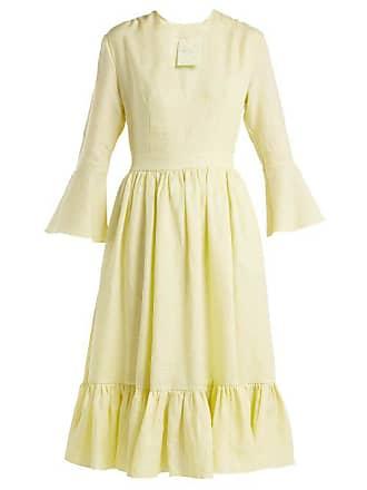 Loup Charmant Sea Island Linen Midi Dress - Womens - Light Yellow