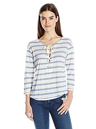 Splendid Womens Cliffbrook Lace Up Stripe Top, Chambray, M