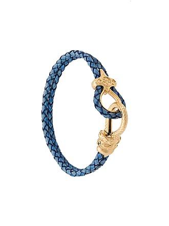 Nialaya Bracelete Lock com couro - Azul