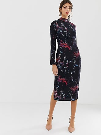 Hope & Ivy bird print fitted pencil dress - Navy