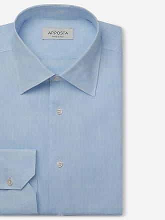 Apposta Shirt solid cyan linen plain, collar style low straight point collar