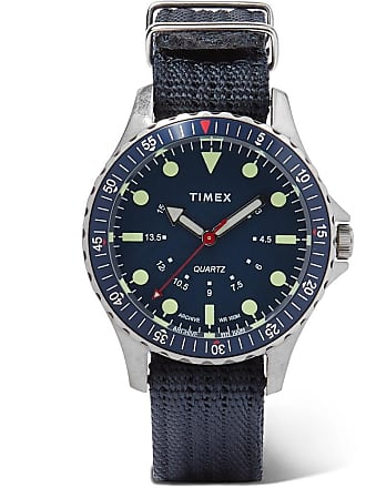 Timex Navi Depth Stainless Steel And Nylon-webbing Watch - Blue