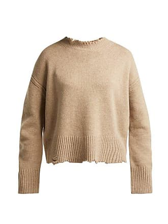 Helmut Lang Distressed Crew Neck Sweater - Womens - Beige