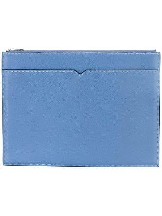 Valextra portfolio double with zip - Blue