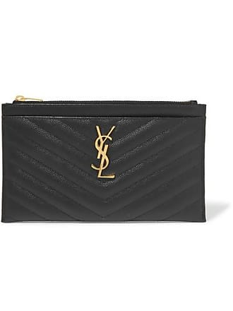 384e92c862e Saint Laurent Monogramme Quilted Textured-leather Pouch - Black