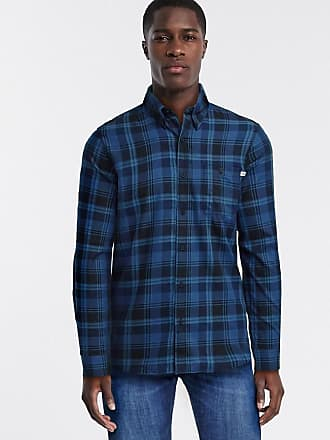 Timberland brushed cotton long sleeve shirt-Blue