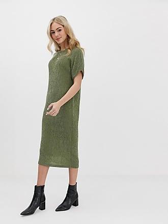 bed25505b10e Asos Vestito T-shirt midi in tessuto stropicciato - Verde
