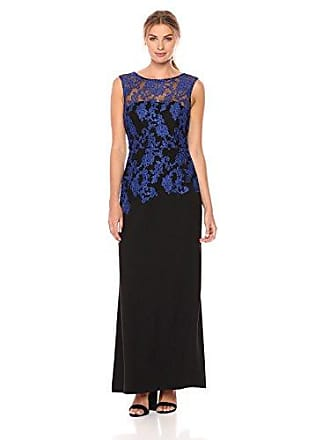 Ellen Tracy Womens Embroidered Crepe Cobalt and Black Cocktail Dress, 2