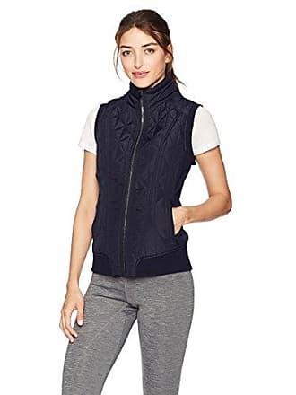 Betsey Johnson Womens Hybrid Rib Trim Quilt Vest, Wavy Navy, XS