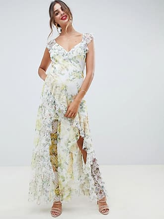 Asos ruffle maxi dress in floral dobby mesh with lace - Multi