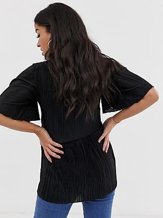 662422b04af Asos Maternity ASOS DESIGN Maternity nursing plisse wrap top with flutter  sleeve in black - Black