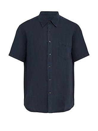 120% Lino Short Sleeved Linen Shirt - Mens - Dark Navy