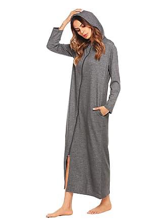 377f3d3be Laisla Fashion Ladies Long Dressing Gown Hooded Bathrobe Sauna Coat Fluffy  Clásico Soft Robe Pajama Nightie