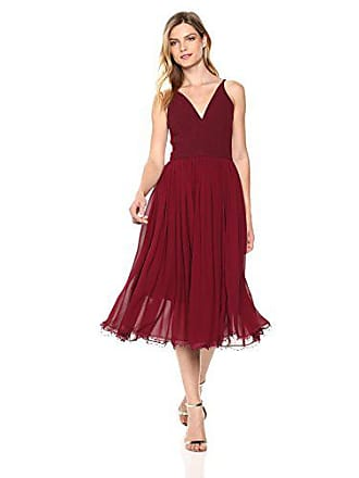 cf36b3a8e99b5 Dress The Population Womens Alicia Plunging Mix Media Sleeveless Fit and Flare  Midi Dress
