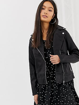 New Look oversized biker jacket in pu - Black