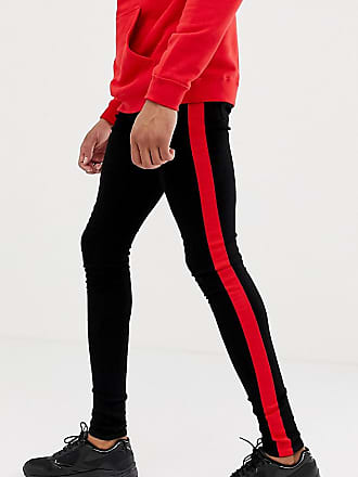 29b12f01 Sixth June super skinny jeans in black with red side stripe exclusive to  ASOS - Black