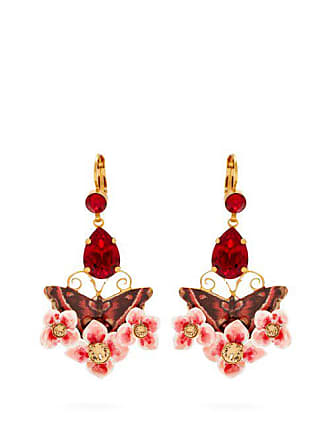 26252121a5b07 Dolce   Gabbana Butterfly And Crystal Drop Earrings - Womens - Multi