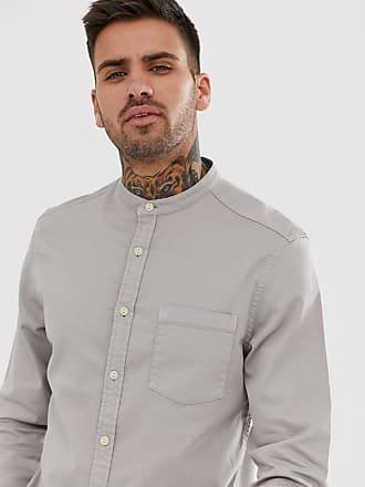 d1660a62711 Asos stretch slim denim shirt in grey with grandad collar