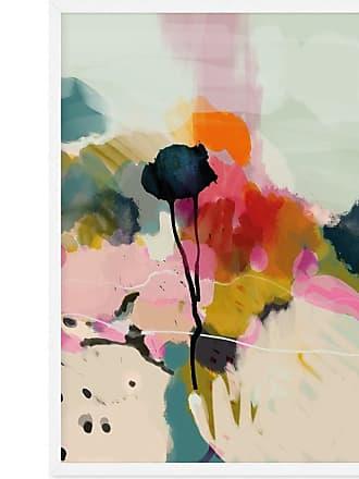 MADE.COM Abstract Landscape Floral Print gerahmter Kunstdruck (A1), Mehrfarbig