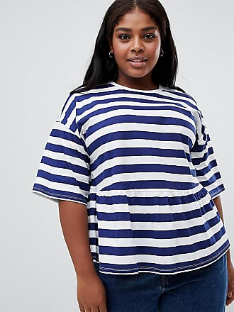 830b46d1543 Asos Curve ASOS DESIGN Curve smock top in chunky stripe