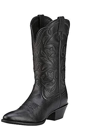 bd2567bd876 Ariat Womens Heritage R Toe Western Boot Black Deertan Size 7 B Medium Us
