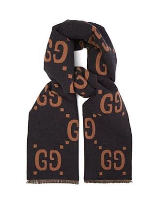 6ba14816d Gucci Gg Jacquard Wool Blend Scarf - Mens - Grey