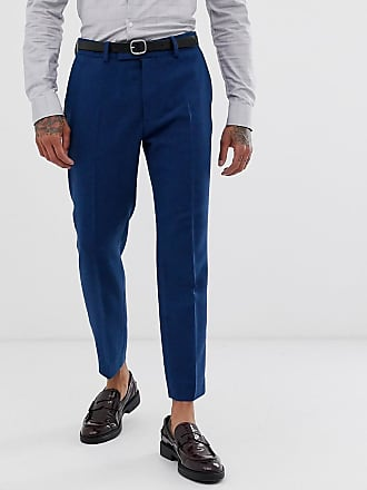 Asos wedding skinny crop suit trousers in blue wool mix twill