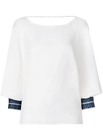 Zeus + Dione contrast-cuff blouse - White