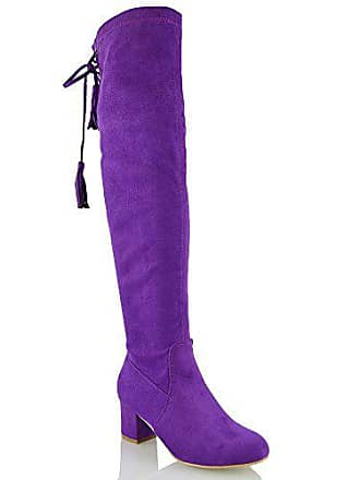 ESSEX GLAM Damen Lila Wildlederimitat Schenkelhoch StretchLangschaft  Stretch Blockabsatz Stiefel EU 38 90186fa778
