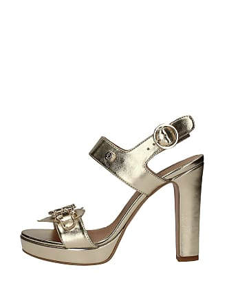 a31086b3b37 Love Moschino Womens Shoes Platinum Gold Logo Heeled Sandal Spring Summer  2018