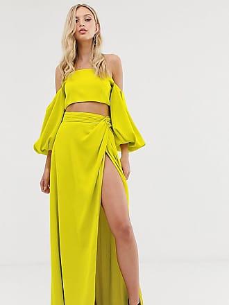 Yaura high waist maxi skirt co ord in green