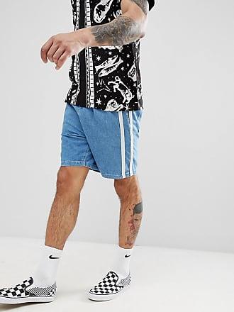 Asos Short en jean coupe décontractée avec bande latérale - Bleu délavé ... 77dc95d7f80