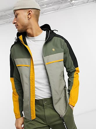 G-Star Kapuzenjacke in Khaki mit Farbblockdesign-Grün